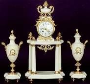 703 THREE PIECE FRENCH CLOCK SET Louis XV style gilt