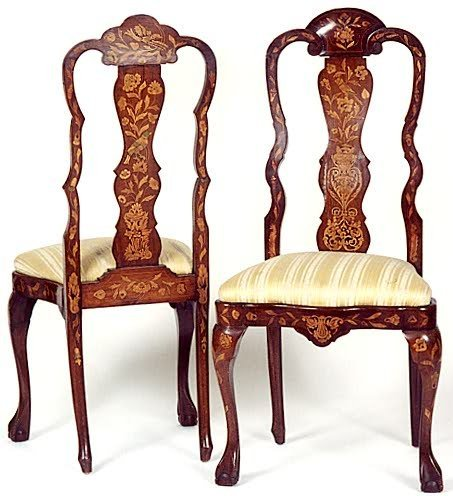 736: TWO PAIR OF DUTCH MARQUETRY DINING CHAIRS, 18th ce