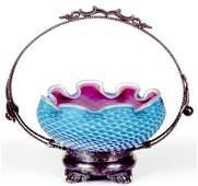 7 AN UNUSUAL AMERICAN VICTORIAN ART GLASS BRIDES BASKE