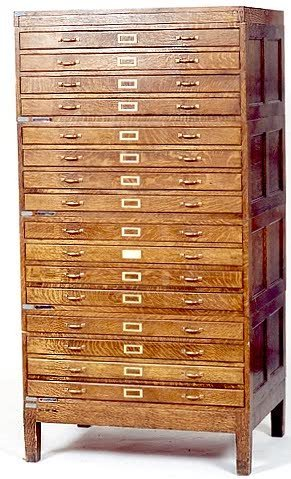 16: SIXTEEN-DRAWER STACKING OAK MAP CHEST, American, c.