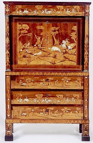 858: NEOCLASSICAL MARQUETRY INLAID FALL-FRONT SECRETARY