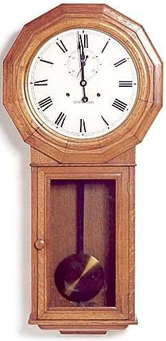 18: LONG CASE OAK REGULATOR WALL CLOCK, Seth Thomas Clo