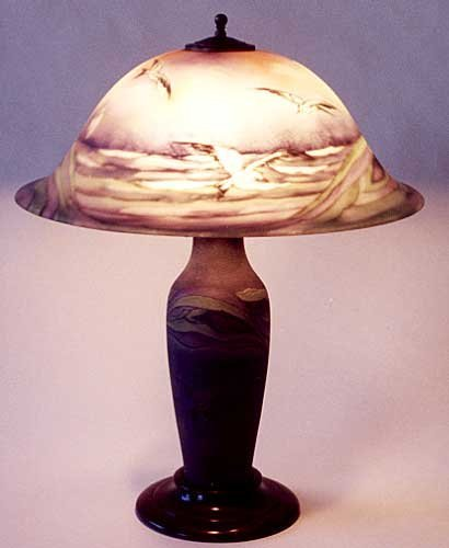165: RARE PAIRPOINT SEA GULL TABLE LAMP, the signed Cop