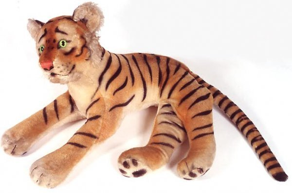 1: A LARGE STEIFF TIGER; reclining mohair cat having ha