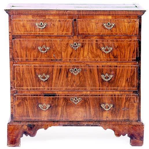 834: GEORGE I PERIOD BURL WALNUT CHEST OF DRAWERS, Engl