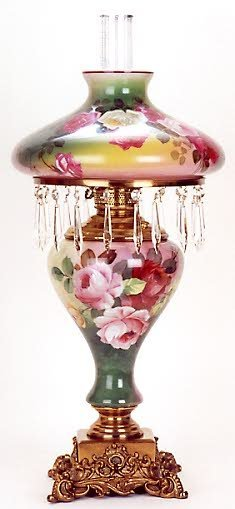 """4: A """"HURRICANE"""" STYLE TABLE LAMP, hand painted rose pa"""
