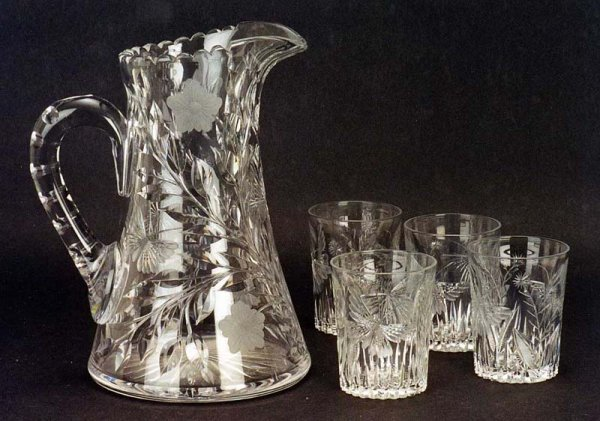 """4: FIVE PIECE CUT GLASS WATER SET BY TUTHILL, in the """"B"""