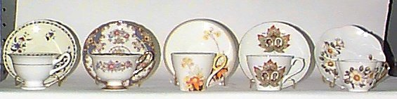 11: FIVE SHELLEY CHINA TEA CUPS AND SAUCER SETS, includ