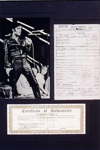 1: ELVIS PRESLEY SIGNED DOCUMENT, Tennessee auto regist