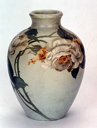 3: AN EARLY ROOKWOOD VELLUM VASE, signed by Edward Dier