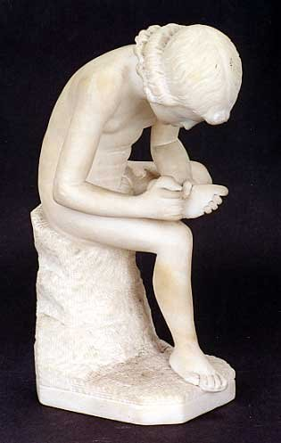 7: AN ALABASTER SCULPTURE depicting a nude young woman
