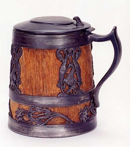 11: AN OAK BEER STEIN, silver-plated and inscribed BPOE