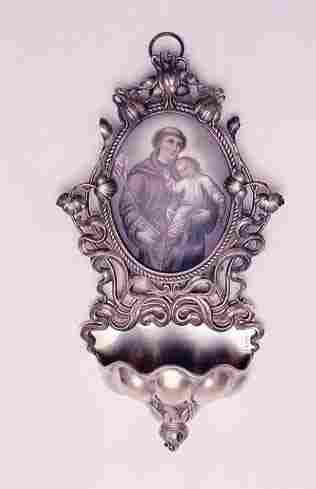 817: AN UNUSUAL .800 FINE SILVER HOLY WATER FONT, Art N