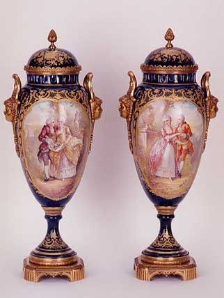 """833: PAIR FRENCH """"SEVRES"""" PORCELAIN COVERED URNS, the d"""
