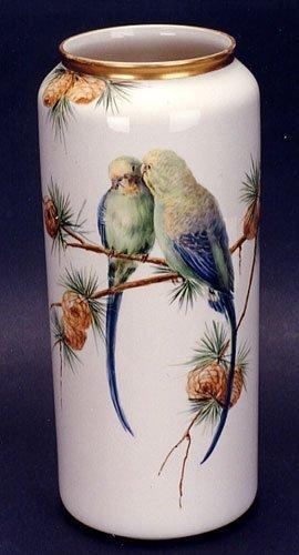 1: A WILLETS BELLEEK PORCELAIN FLOWER VASE, of cylindri