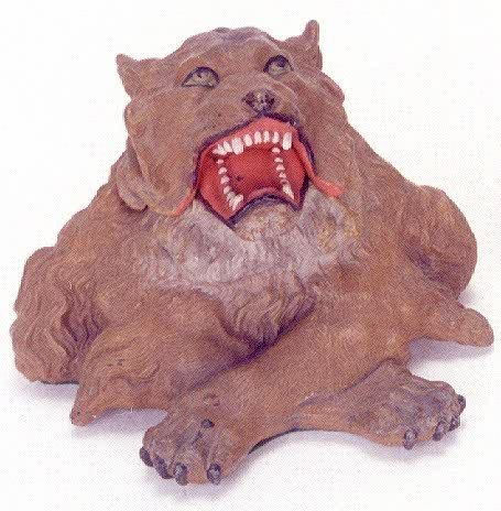 4: A FIGURAL LION INKWELL, circa 1905, cold painted spe