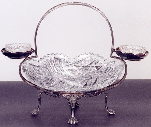 8: A SIGNED HAWKES CUT GLASS BRIDE'S BASKET, wide cente