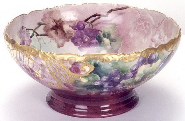 24: A LARGE FRENCH LIMOGES PORCELAIN PUNCH BOWL hand pa