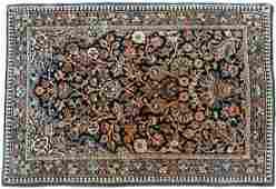 732: SEMI-ANTIQUE PERSIAN KASHAN PRAYER MAT, hand knott