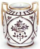 85: NIPPON HAND PAINTED PORCELAIN VASE with raised rose