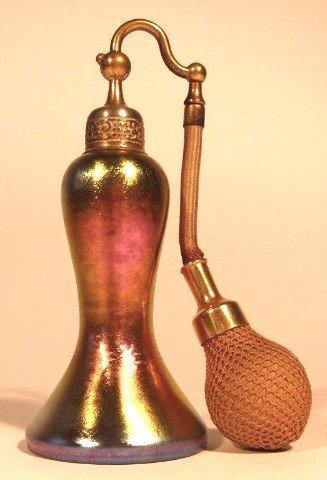 3: A STEUBEN AURENE ART GLASS PERFUME BOTTLE, made by F