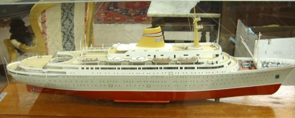 """18: CASED CRUISE SHIP MODEL ON FLOOR STAND, the """"Sagafj"""