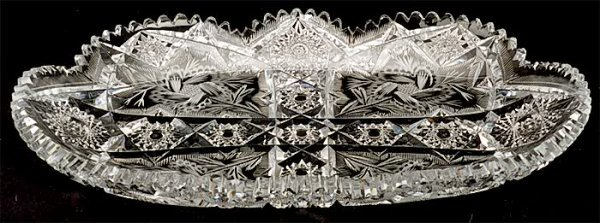 24: AN EARLY LIBBEY SIGNED CUT GLASS SERVING TRAY, engr