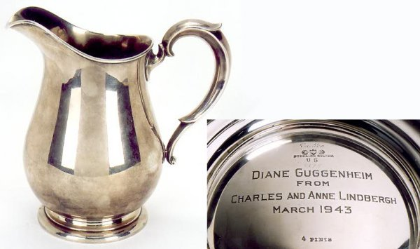 823: CHARLES AND ANNE LINDBERGH STERLING SILVER PRESENT
