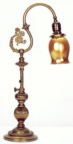 1: A STEUBEN TABLE LAMP, the brass adjustable pedestal