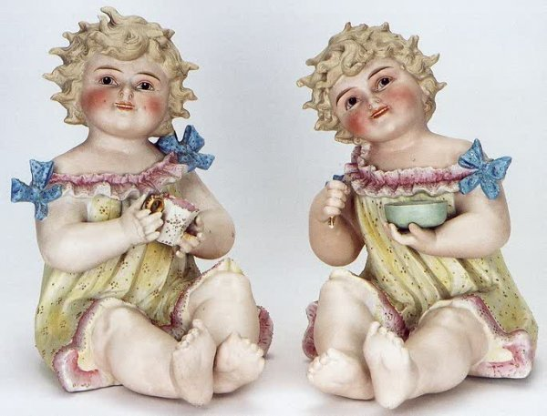 3: PAIR GERMAN BISQUE PIANO BABIES, hand painted, with
