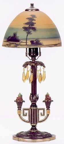 8: AN AMERICAN ART DECO TABLE LAMP, the reverse hand pa