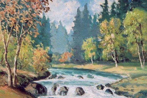23: CLYDE LEON KELLER (Oregon 1872-1962) Oil on panel E
