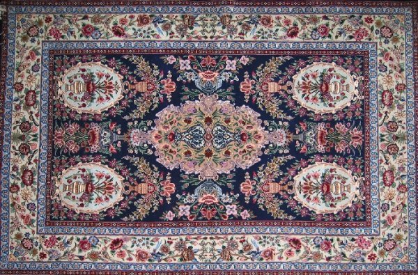 22: VERY FINE PERSIAN ISFAHAN AREA RUG, vase design, wo