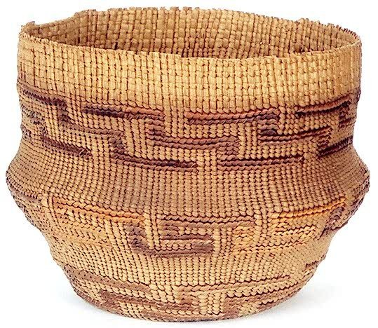 11: A FINELY WOVEN TLINGIT INDIAN BASKET, twined from s