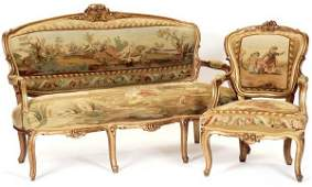 738 FIVEPIECE LOUIS XV STYLE PARLOR SET French earl
