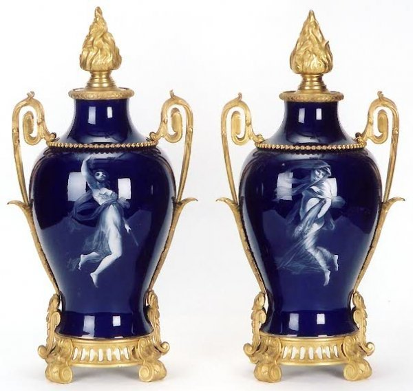 "763: PAIR FRENCH COBALT BLUE ""SEVRES"" PORCELAIN COVERED"