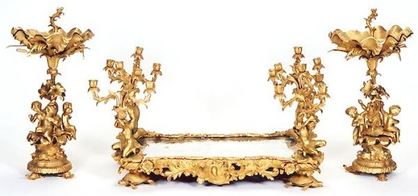 837: THREE-PIECE NAPOLEON III GILT-BRONZE CENTERPIECE S