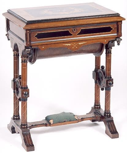 10: VICTORIAN INLAID WALNUT SEWING STAND, Eastlake desi