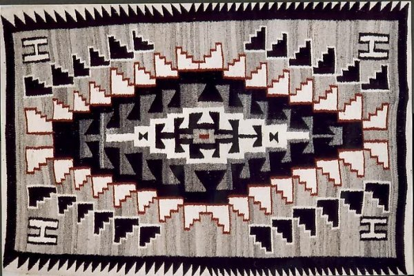 """9: A NAVAJO INDIAN BLANKET/RUG, in the """"Twin Grey Hills"""