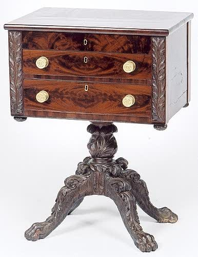 10: CLASSICAL EMPIRE MAHOGANY WORK STAND, American, ear
