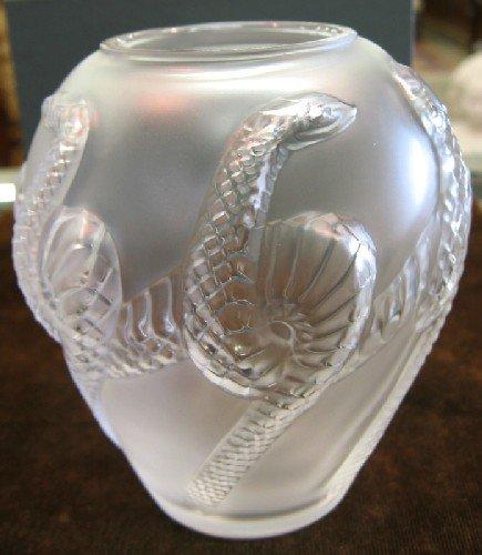 """14: LALIQUE CRYSTAL JAR-SHAPED VASE, """"Charmeur Vase"""", h"""