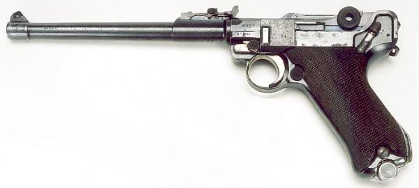 19: GERMAN DWM LUGER PISTOL WITH LEATHER HOLSTER, model