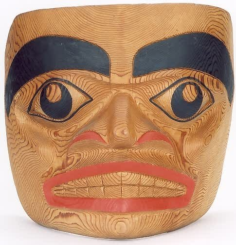 7: HAIDA NATIVE AMERICAN FACE MASK, hand carved from we