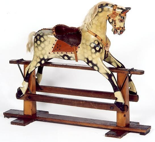 10: PAINTED WOOD HOBBY HORSE, American, 19th century, b