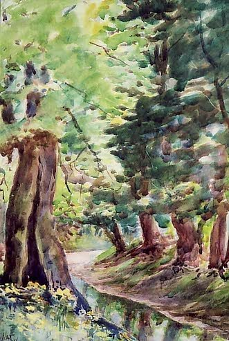 13: CLYDE LEON KELLER (Oregon, 1872-1962) Watercolor on