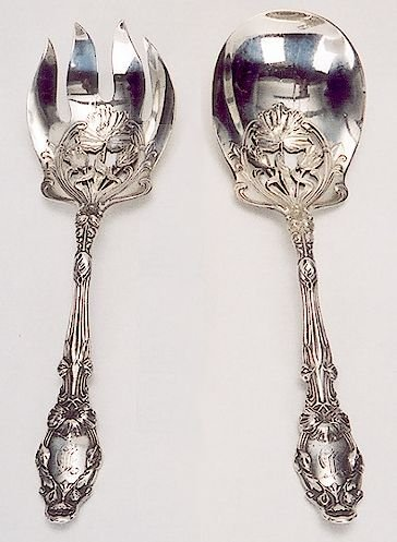 15: GORHAM STERLING SILVER TWO-PIECE SALAD SET, heavily