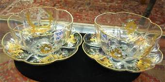 869 PAIR VENETIAN GLASS SERVING BOWLS with under plate