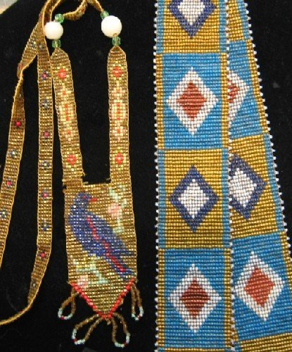 15: TWO NATIVE AMERICAN BEADED ITEMS. One is a fringed