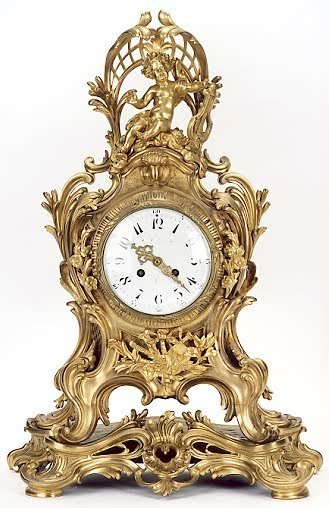 763: SUPERB FRENCH GILT BRONZE 19TH CENTURY TABLE CLOCK