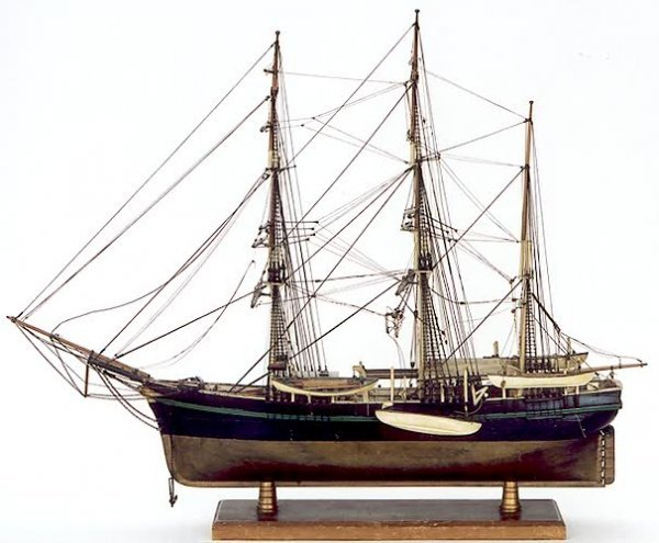 1: WOODEN MODEL of a three-masted schooner (fore and af